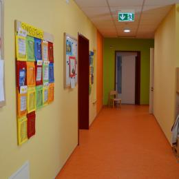 The kindergarten is painted in friendly and colorfull tones